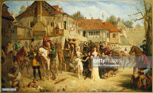A scene from The Canterbury Tales by Geoffrey Chaucer depicts travelers at the Tabard Inn in Southwark London