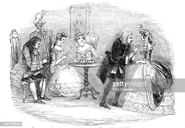 """Scene from """"The Confederacy"""", at the Haymarket Theatre, 1844. Play by John Vanbrugh, performed in London. Moneytrap is played by Farren, and Clarissa..."""