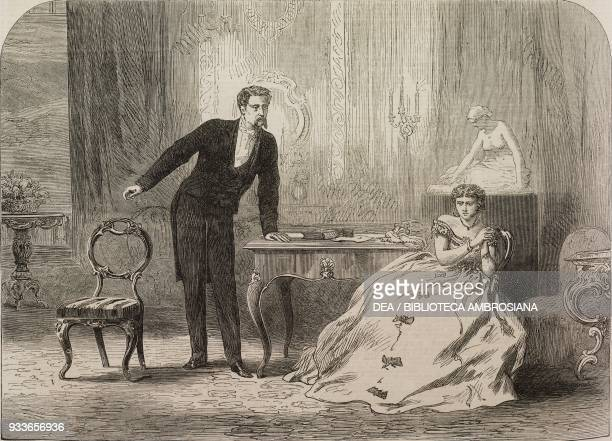 Scene from The favourite of fortune, at the Haymarket Theatre, London, United Kingdom, illustration from the magazine The Illustrated London News,...