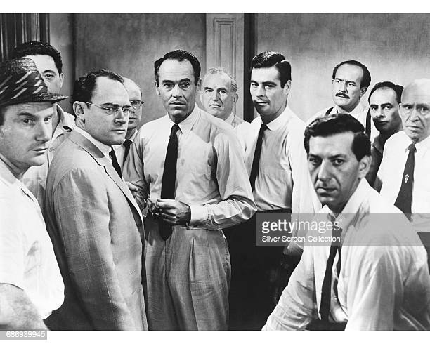 A scene from the film '12 Angry Men' 1957 From left to right actors Jack Warden Edward Binns E G Marshall John Fiedler Henry Fonda Ed Begley Robert...