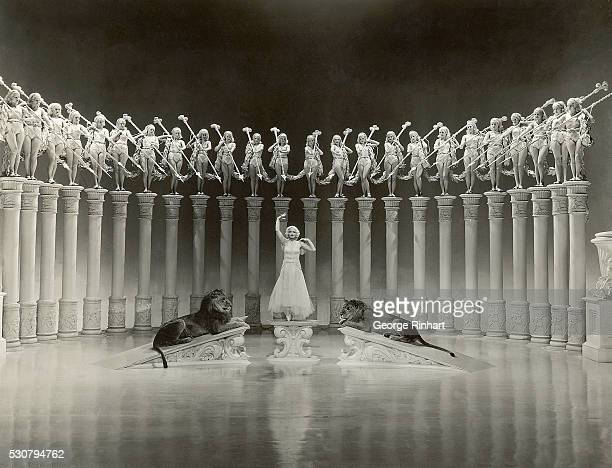 A scene from the film based on the life of Florence Ziegfeld MGM's 1936 production of The Great Ziegfeld Photo shows women standing on pedestals...