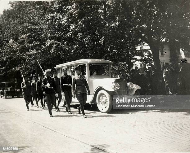 A scene from the funeral procession for President Warren G Harding Marion Ohio 1923