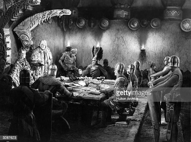 A scene from the German expressionist film 'Die Nibelungen' directed by Fritz Lang and based on a medieval German heroic epic of unknown authorship...