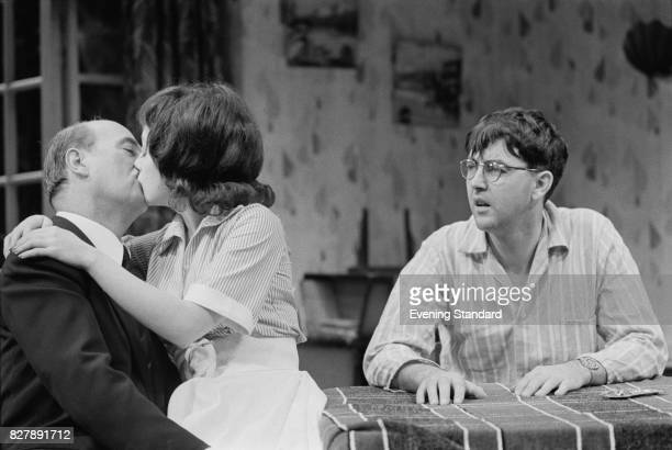 A scene from the Harold Pinter play 'The Birthday Party' at the Shaw Theatre London 17th January 1975 The cast includes Sydney Tafler Paula Wilcox...