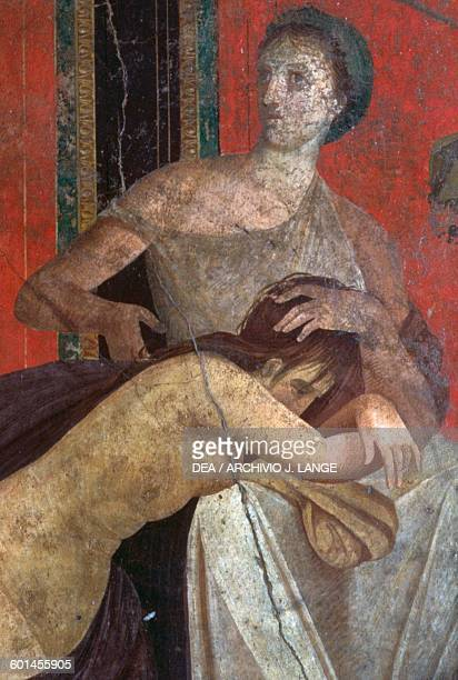 Scene from the Initiation to the Dionysiac mysteries detail of the Bride Triclinium of the Villa of the Mysteries Pompeii Campania Italy Roman...