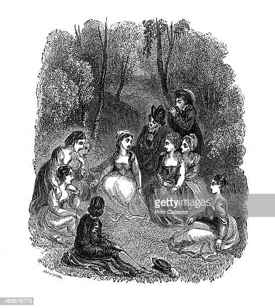 Scene from the introduction to The Decameron by Giovanni Boccaccio, . In Boccaccio's The Decameron, a group of friends, who have escaped the plague...
