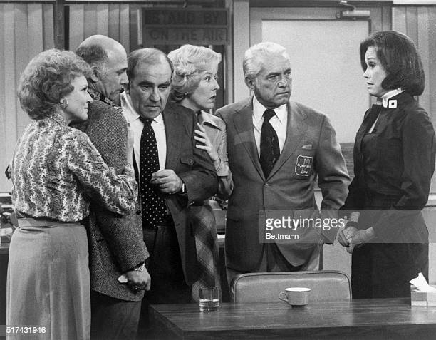 Scene from the last episode of The Mary Tyler Moore Show in which members of the 'WJMTV' team gather after learning that most of them have been fired...
