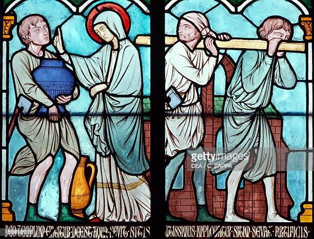 Scene from the life of Saint Louis stainedglass window from the Notre Dame Cathedral Paris IledeFrance Detail France