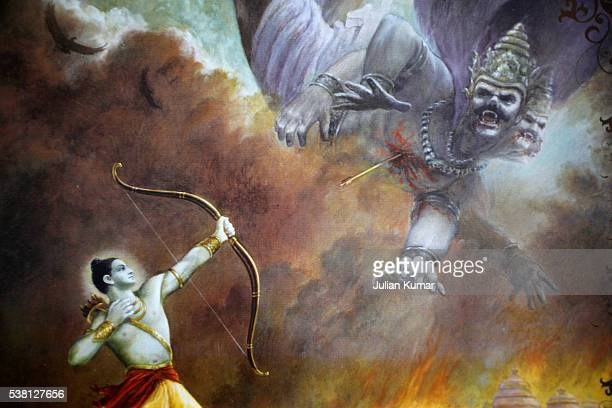 Scene from the Mahabharata depicted on a Hare Krishna calendar : Arjuna slaying an enemy