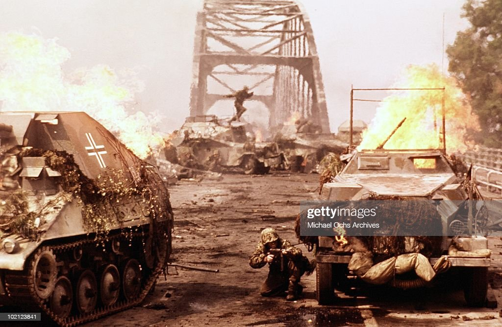 A scene from the movie 'A Bridge Too Far' in 1977.