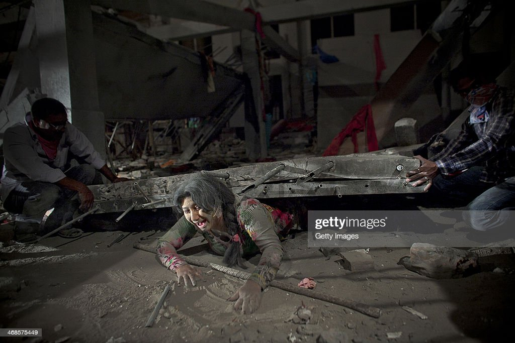A scene from the movie titled 'Rana Plaza' is filmed February 7, 2014 in Dhaka, Bangladesh. The movie tells the love story of a male garment worker and Reshma, the woman who survived 17 days in the rubble, against the backdrop of the 2013 Rana Plaza disaster. In 2011 the Bangladesh government lifted the ban on Bollywood movies being shown in country, but it only lasted 6 months since it was financially hurting the Dhallywood film industry. Since then there's been on going chatter about lifting the ban again. The industry is growing rapidly, in 2012 there were 30 films released, 51 in 2013, and 180 films scheduled to be released in 2014.