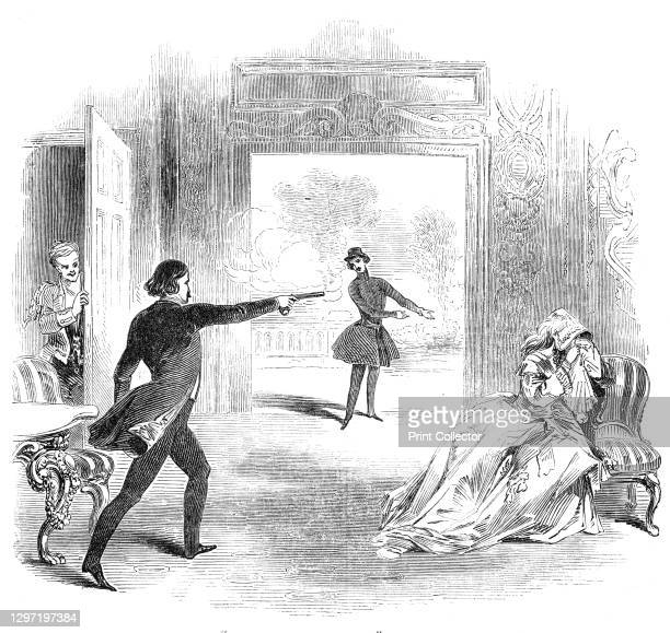 "Scene from ""The Mysterious Stranger"", at the Adelphi Theatre, 1844. London stage production: a '...mysterious persecutor enters, declares all the..."