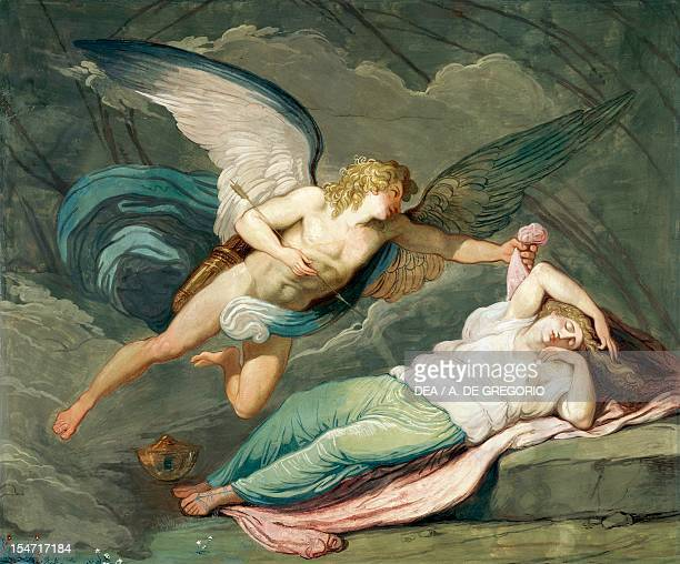 Scene from the myth of Cupid and Psyche by Felice Giani tempera wall painting Palazzo Laderchi Faenza EmiliaRomagna Italy 18th century