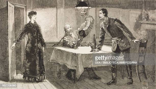 Scene from the novel A bit of human nature by David Christie Murray engraving from a drawing by Percy Macquoid illustration from The Graphic...