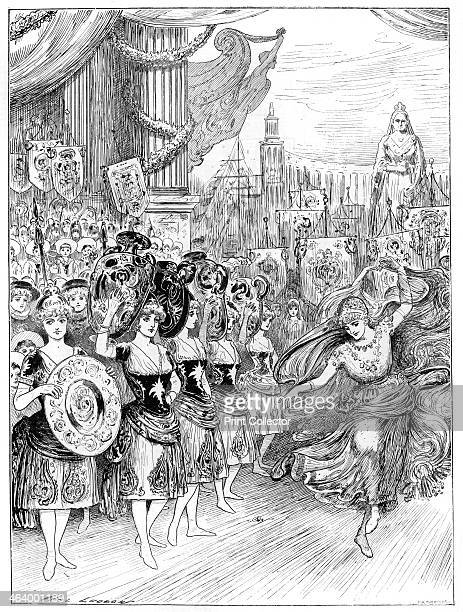 Scene from the pantomime 'The Forty Thieves' at Dury Lane Theatre, London, 1887. A print from The Illustrated London News, 1st January 1887.