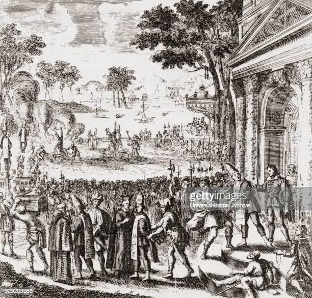 Scene from the Portuguese Inquisition at Goa in the 17th century. After the engraving from Dellon's Relations de l'Inquisition de Goa,1688. From...