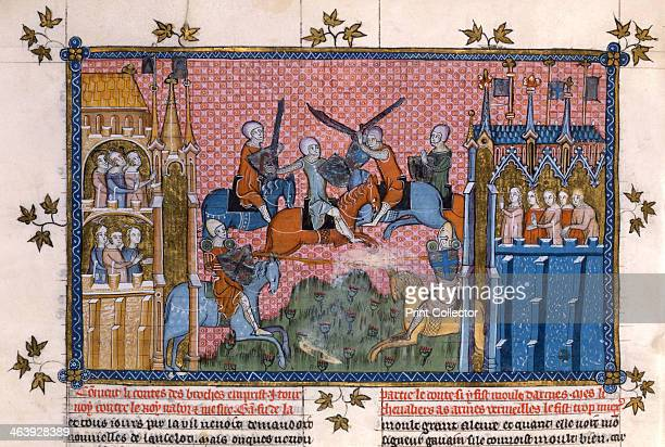 Scene from the Romance of Lancelot of the Lake The Count des Broches in combat with King Nabor and Sir Gawain In the centre mounted knights in armour...