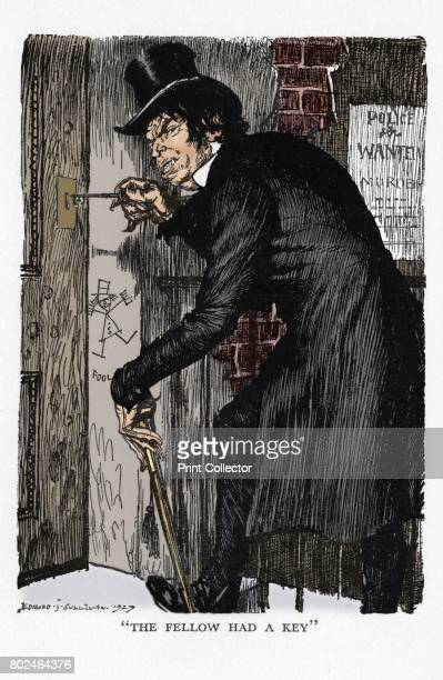 Scene from The Strange Case of Dr Jekyll and Mr Hyde by Robert Louis Stevenson 1927 Mr Hyde after his night's adventures letting himself into his...
