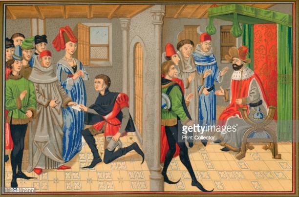 Scene from the tale of Renaud De Montauban 15th century On the left a messenger brings a letter and on the right is the Emperor Charlemagne...