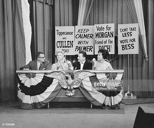 Scene from the television game show 'I've Got a Secret' shows from left American tv personalities Bill Cullen Betsy Palmer Henry Morgan and Bess...