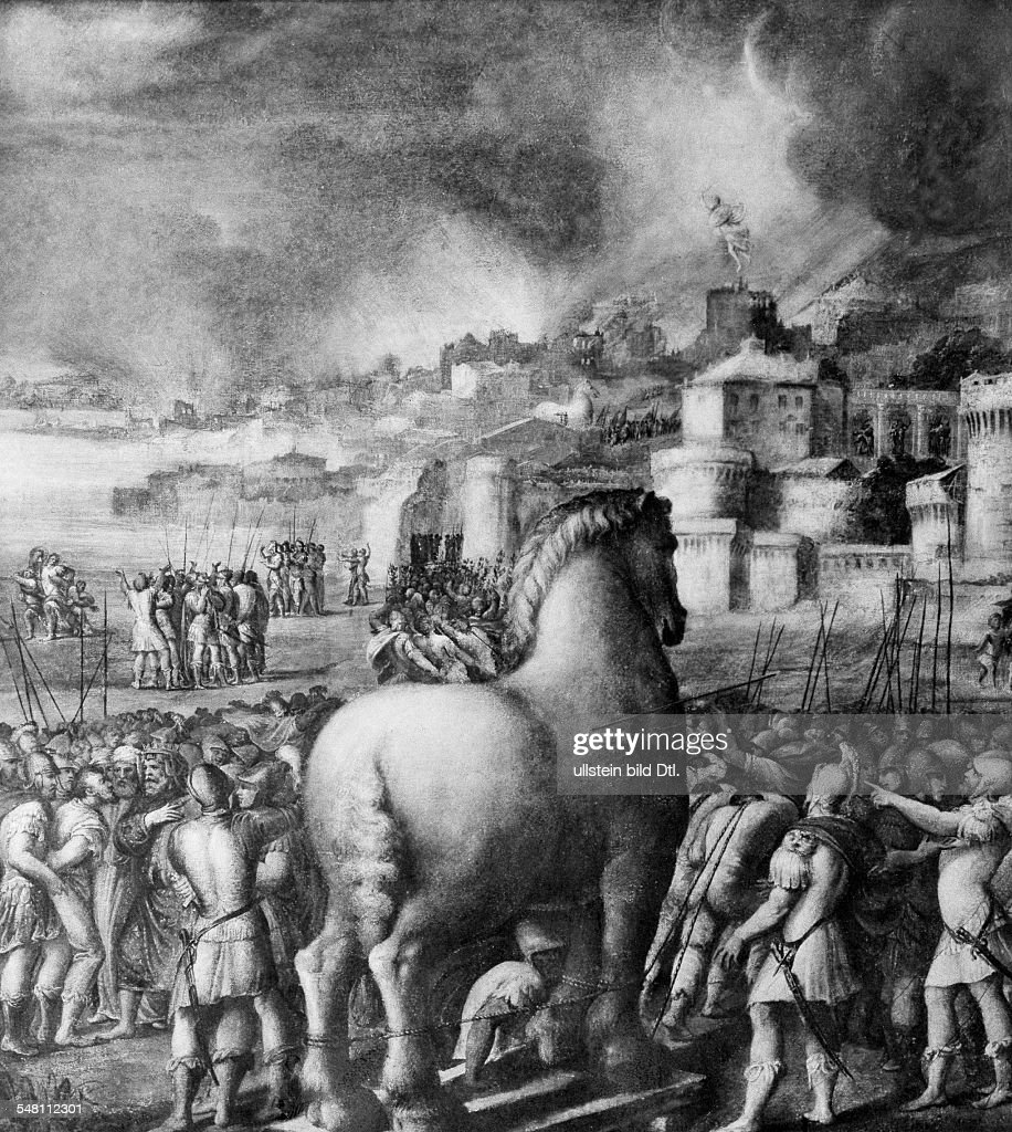 Depiction Of The Trojan Horse Painting By Niccolo Dell Abbate News Photo Getty Images