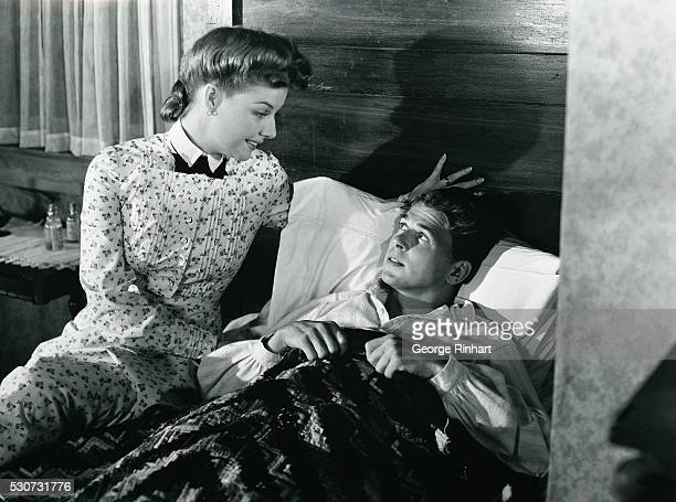 Scene from the Warner Borthers film 'Knig's Row' 1941 directed by Sam Wood shows Ronald Reagan and Ann Sheridan Ca 1940s