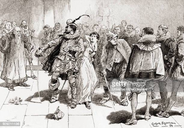 A scene from William Shakespeare's play The Taming of the Shrew Act III scene 2 Petruchio Fear not sweet wench they shall not touch thee Kate I'll...