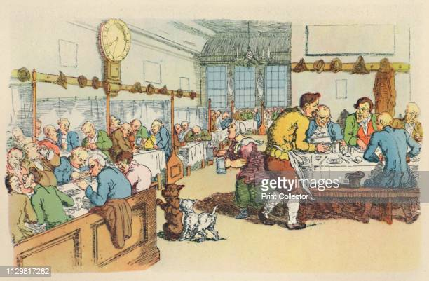 'Scene in a Coffee House' Diners in booths at a London coffee house with dogs begging and the clock showing 830 From The English At Table by John...
