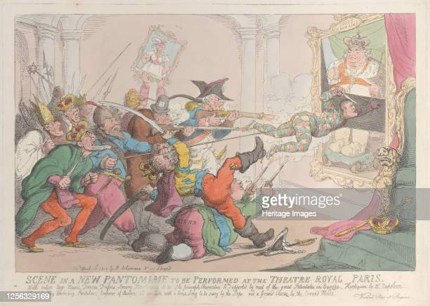 Scene in a New Pantomime to be Performed at the Theatre Royal Paris April 12 1815 Artist Thomas Rowlandson