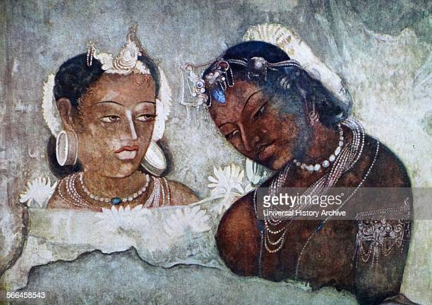 scene in a palace Fresco from the Ajanta caves in Aurangabad district of Maharashtra India are about 30 rockcut Buddhist cave monuments which date...
