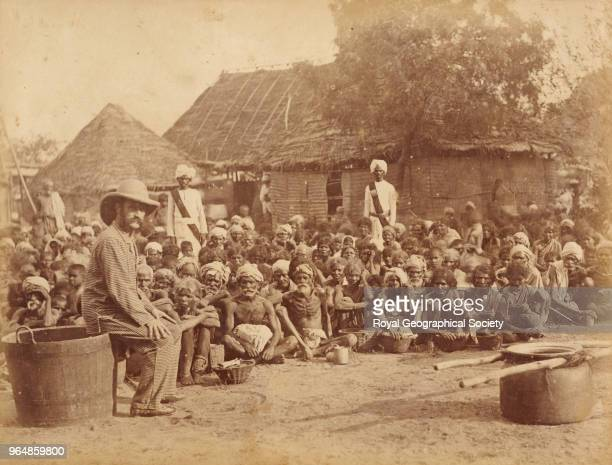 Scene in a relief camp Madras India 1876 Madras Famine 18761878