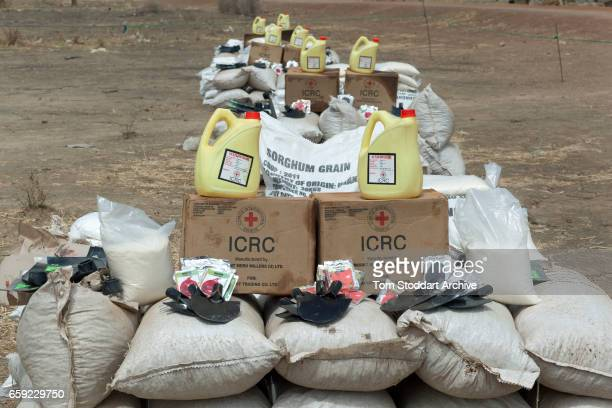 A scene in Abathok village during an International Committee of the Red Cross distribution of seeds agricultural tools and food staples to households...