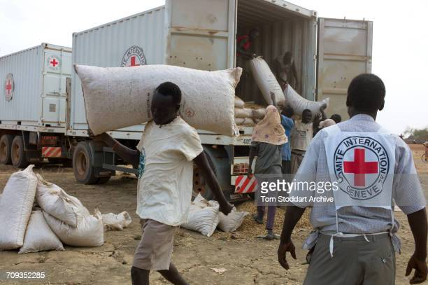 Scene in Abathok village during an International Committee of the Red Cross distribution of seeds, agricultural tools and food staples to households...