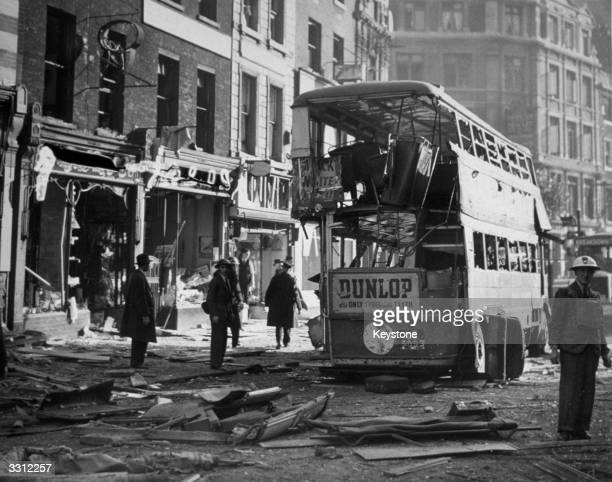 A scene in central London the morning after a bomb raid