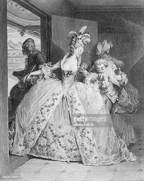 Scene in front of the loge gentleman giving a kiss on the hand of a lady rococo around 1750 reproduction of a lithography Hermann Boll