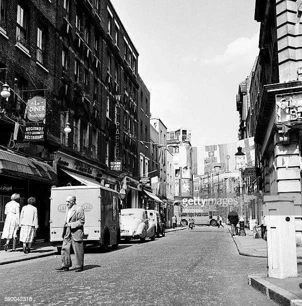 Scene in Old Compton Street in Soho London Circa 1955