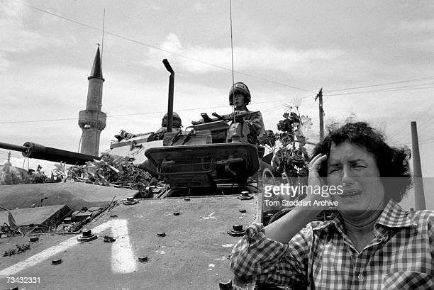 A scene in Pristina Kosovo after American NATO forces arrived in the town and the Serb army left the province June 1999 On June 12th 1999 NATO troops...