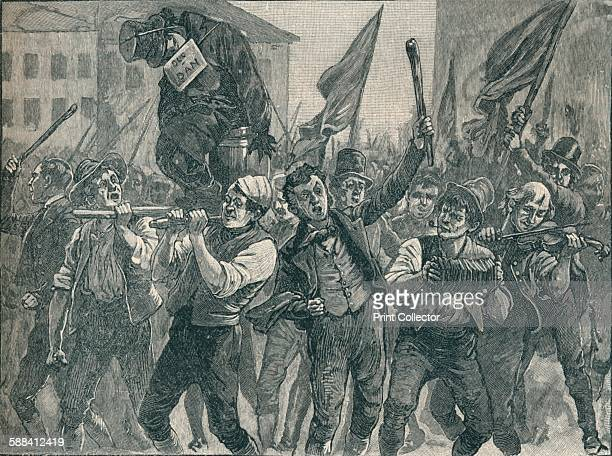 Scene in the Belfast riots 19th century From Cassell's History of England Vol VI