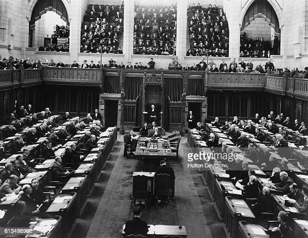 A scene in the Canadian Parliament showing the House of Commons in session at Ottawa the Capital The King and Queen will drive in state to the...