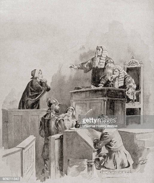 A scene in the courtroom during The Salem witch trials of 1692 From The History of Our Country published 1899