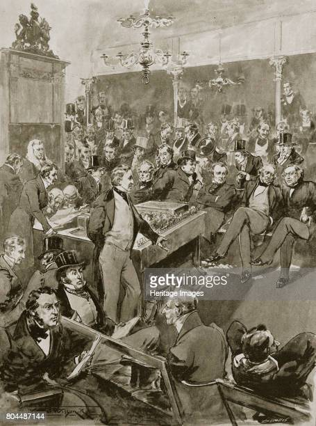Scene in the House of Commons London 22 January 1846 Sir Robert Peel announcing His conversion to Free Trade principles during the Corn Law debate...