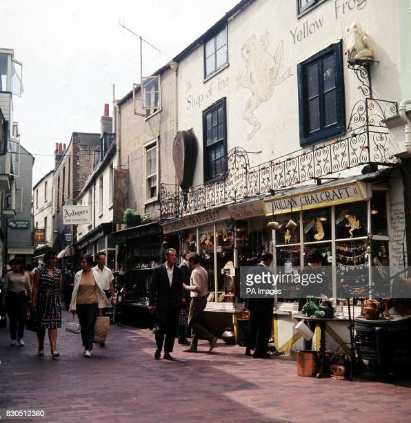 A scene in The Lanes Brighton Sussex an area with passageways containing antique and bricabrac shops