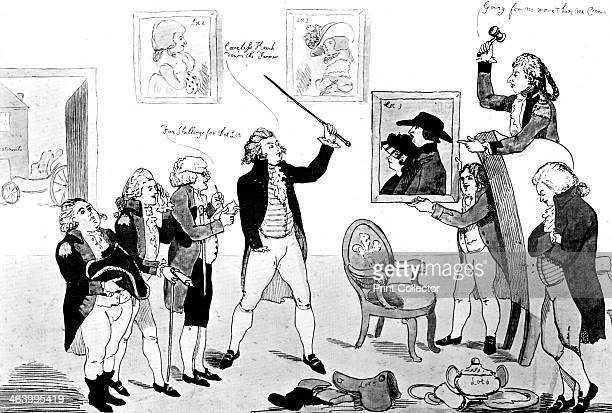'A Scene in the School for Scandal' 1786 An auction scene with the Prince of Wales bidding for lots including a portrait of his mistress Mrs...