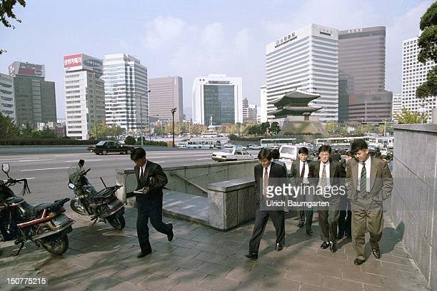 Scene in the South Korean capital Seoul Businessmen in front of office buildings