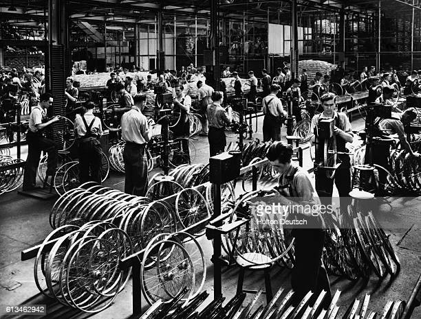 A scene inside a Raleigh bicycle factory