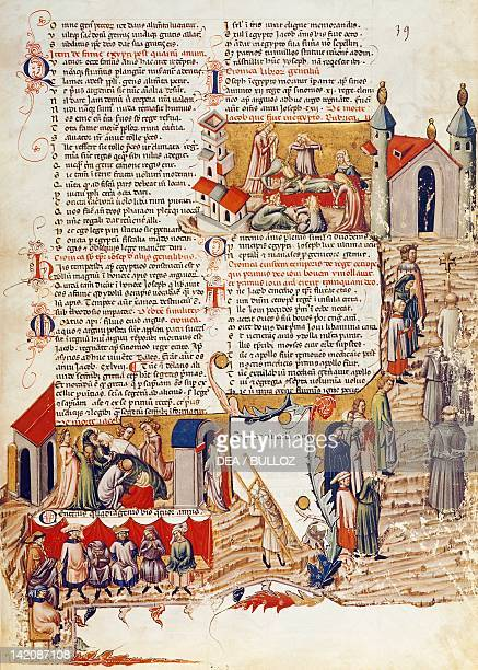 Scene inspired by the death of Jacob miniature from the Pantheon by Goffredo of Viterbo Latin manuscript