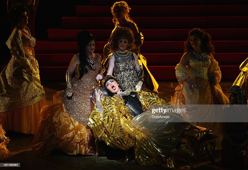 A scene is performed at the preview performance of Handa Opera's Aida on Sydney Harbour on March 25, 2015 in Sydney, Australia.
