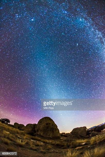 A scene looking west on January 16 2015 but with a field stretching up to and beyond the zenith overhead taking in the Zodiacal Light stretching up...