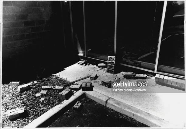 Scene of 5 Million Dollars Robbery Bid at Yandina Street West Gosford Debrise in corner of 1st unit and Armagnard wall after detonation December 30...