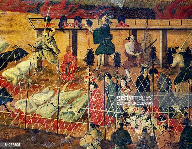 Scene of a beheading detail from the martyrdom of the Jesuit fathers Nagasaki September 10 carried out in Macao by an unknown Japanese artist...